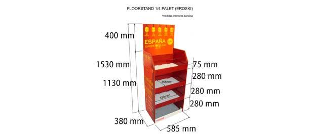 Expositores de pie en carton para promociones en grandes superficies