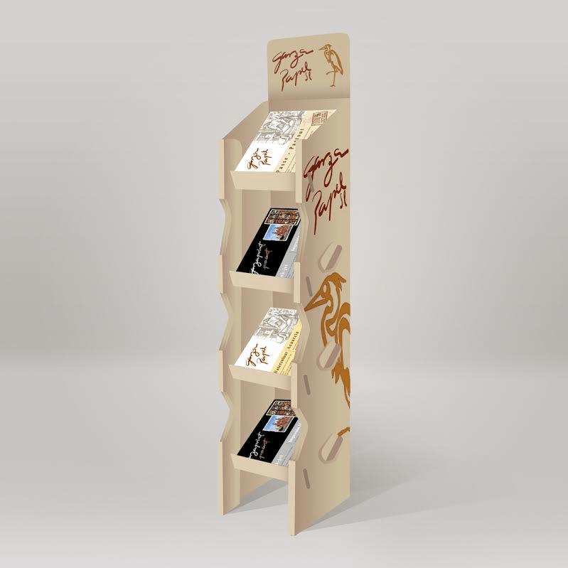 Expositor de cartón para papelería, clinicas o ferias.