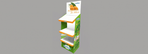 Expositor de pie en cartón para productos de alimentación