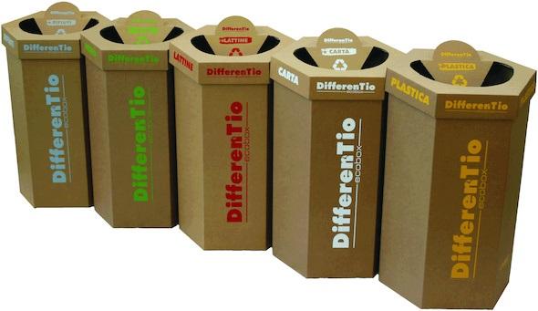Contenedor reciclaje en kraft