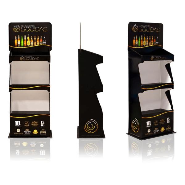 Expositores de pie en carton con estantes para cervezas artesanas Garoo Expositores de Carton