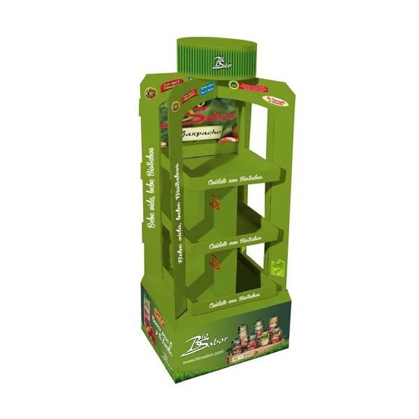 Expositores de pie para productos y bebidas de alimentacion ecologicos.