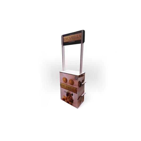 Expositor de pie en forma de mesa de degustación