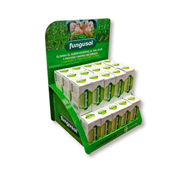 Expositor sobremesa de carton para farmacia fungosol