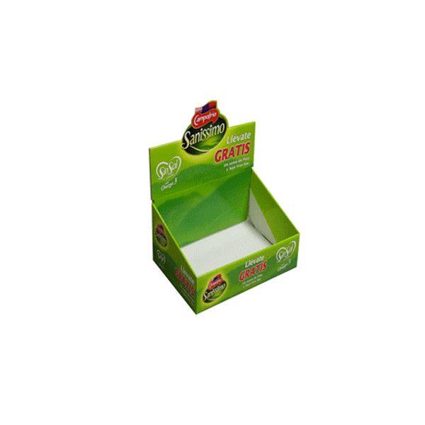expositor de sobremesa realizado en cartón para alimentación