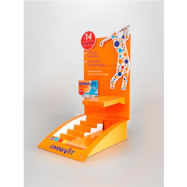 Expositor sobremesa de carton para farmacia omnivit