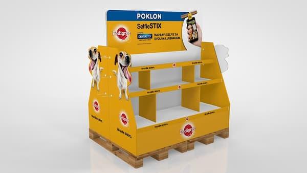 Box palet carton comida para Perros Garoo Expositores de Carton