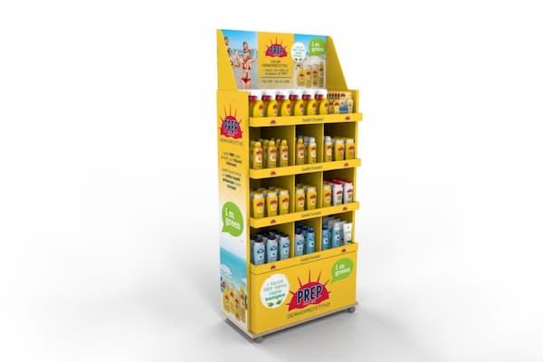 Expositor de pie de cartón para cremas solares - Garoo - Expositores de Carton