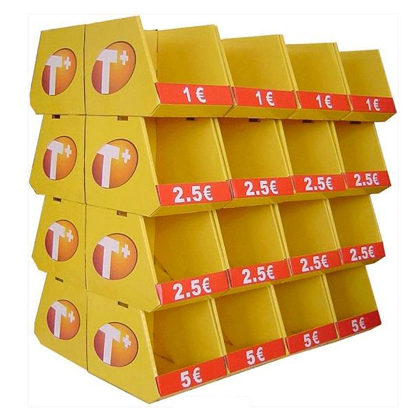 Expositor pie carton bandejas apilables promociones - Garoo - Expositores de Carton