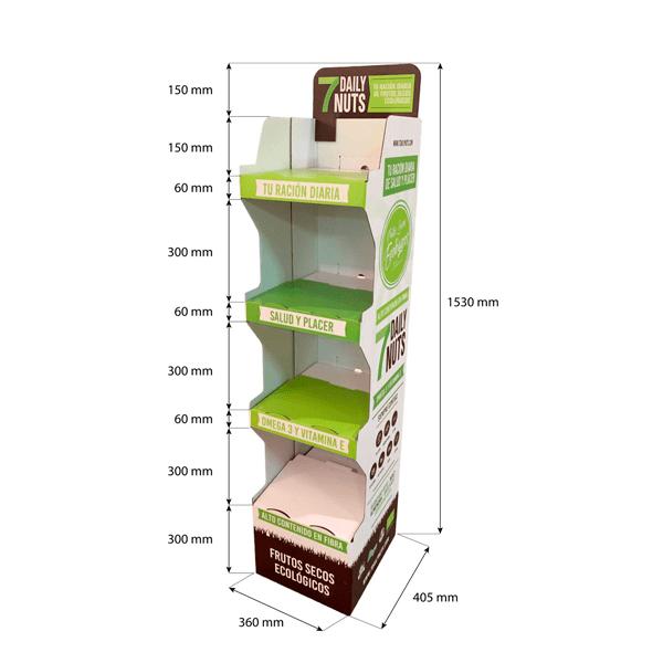 Expositor pie carton frutos secos 7 daily nuts - Garoo - Expositores de Carton