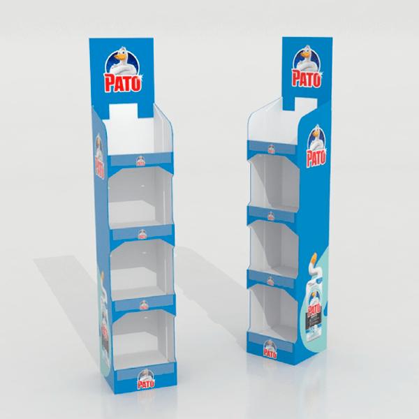 Expositor pie carton productos limpieza pato - Garoo - Expositores de Carton