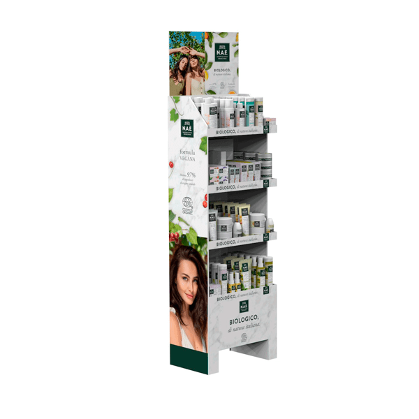 Expositor pie farmacia productos biologicos nae Garoo Expositores de Carton