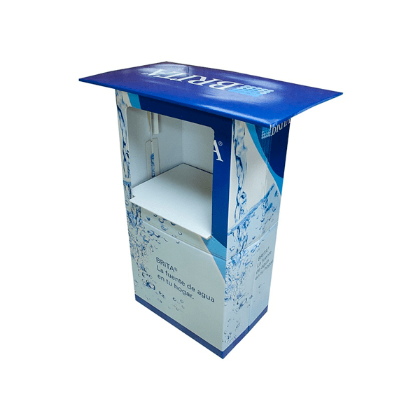 Mesa degustacion automontable brita - Garoo - Expositores de Carton