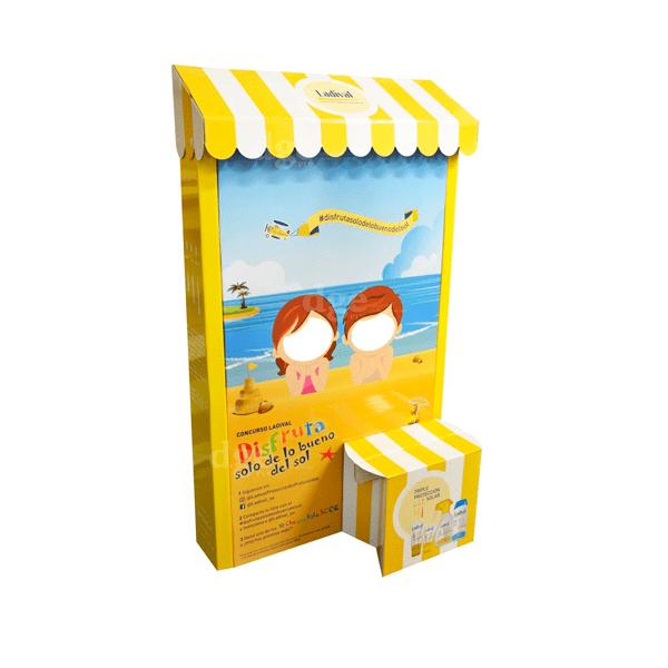 Totem expositor pie carton cremas solares - Garoo - Expositores de Carton