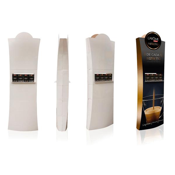 Totem automatico con bandeja producto cafe Garoo Expositores de Carton