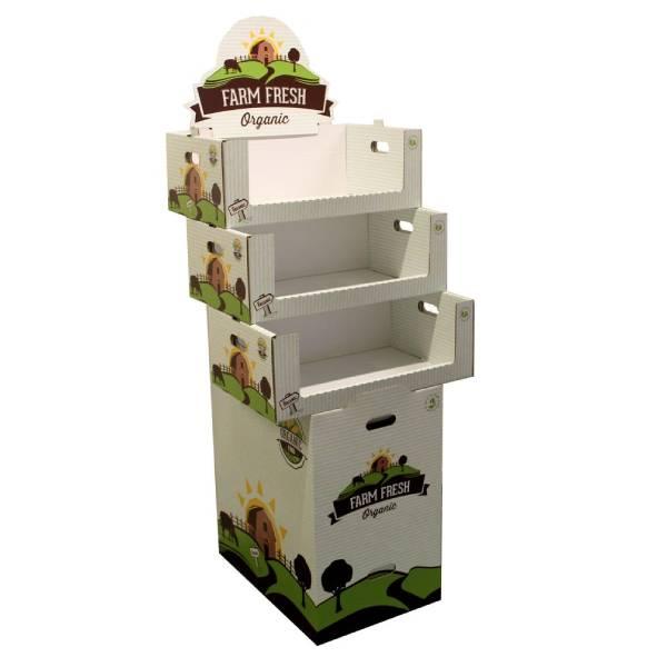Expositor de suelo alimentacion frutas Garoo Expositores de Carton