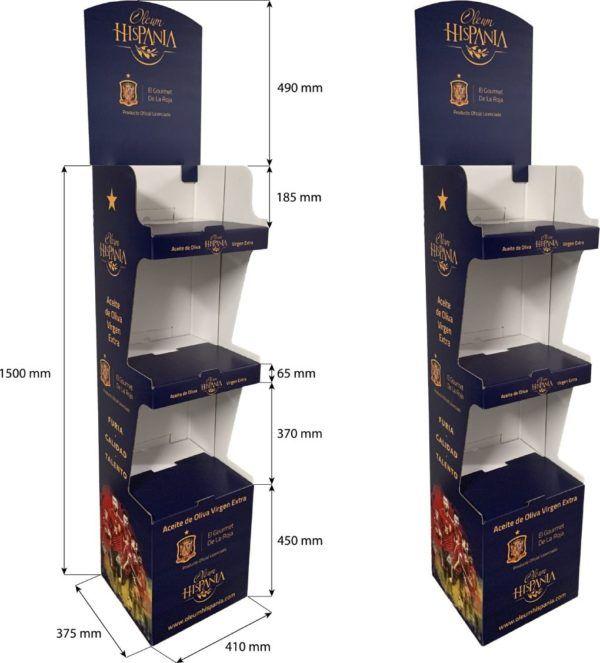 Expositor de suelo aceites pie baldas cartón Garoo Expositores de Carton