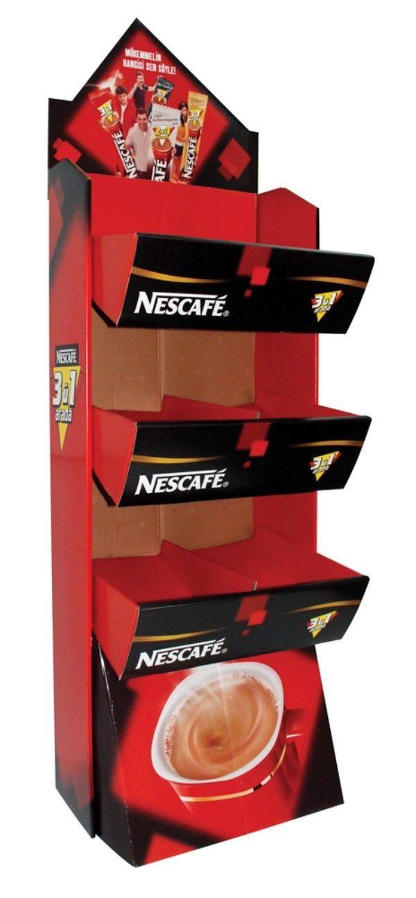 Expositor de suelo cafe infusiones nescafe alimentación cartón Garoo Expositores de Carton