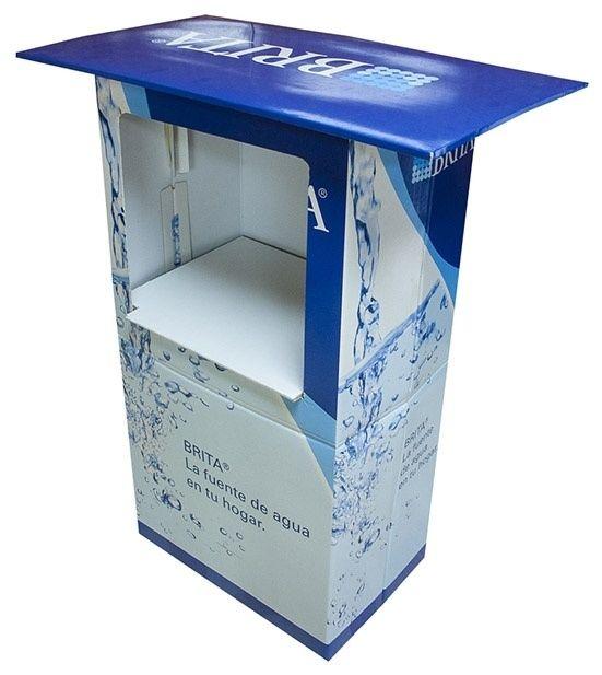 Expositor suelo mesa degustación automontable brita cartón Garoo Expositores de Carton